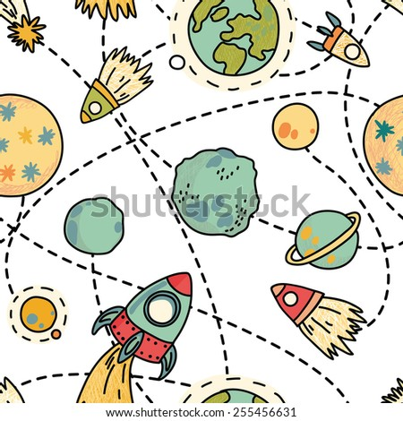 Seamless space pattern with planets and rockets. Childish background. Hand drawn vector illustration. - stock vector