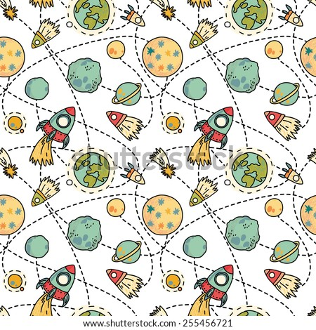 Seamless space pattern with space, rockets, comet, planets and stars. Childish background. Hand drawn vector illustration. - stock vector