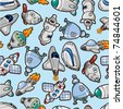 seamless spaceship pattern - stock vector