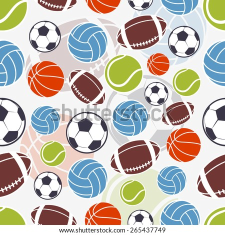 Seamless sports pattern. Sports colorful balls logos and emblem  - stock vector