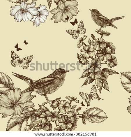 Seamless spring background with birds and flowers. Hand drawing, vector illustration.