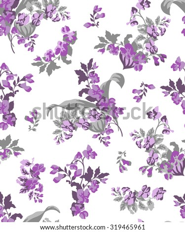 Seamless spring blossom flower pattern vector pattern - stock vector