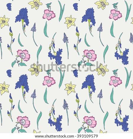 Seamless spring floral hand drawn pattern in vector - stock vector