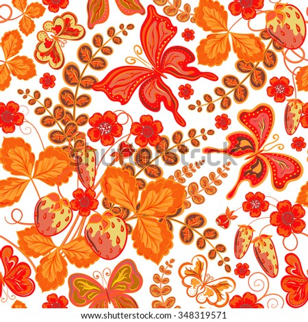 Seamless spring floral pattern with strawberries and flowers and butterflies (vector EPS 8)