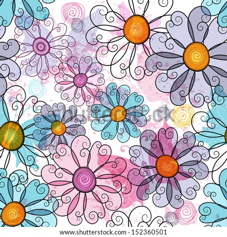 Seamless spring grunge spotty floral pattern with colorful flowers and  transparent butterflies (vector EPS 10) - stock vector