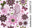 Seamless spring motley pattern with colorful vintage butterflies and flowers (vector) - stock photo