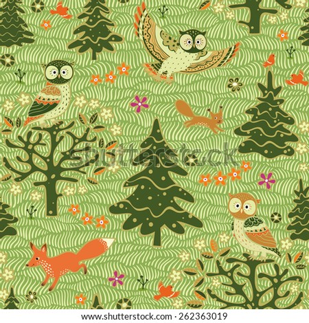 Seamless spring pattern.  Forest animals background. Owls,  fox, squirrel, birds, flowering trees, grass and flowers. - stock vector