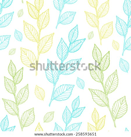 Seamless spring pattern. Line vector leaves. - stock vector
