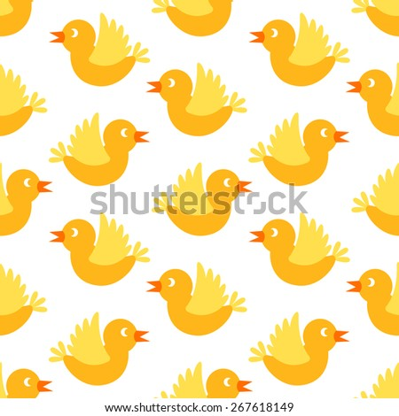 Seamless spring pattern with cute birds, flowers and heart shapes - stock vector