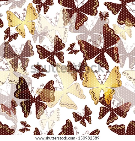 Seamless spring pattern with polka dots with transparent gold and brown butterflies (vector EPS 10) - stock vector