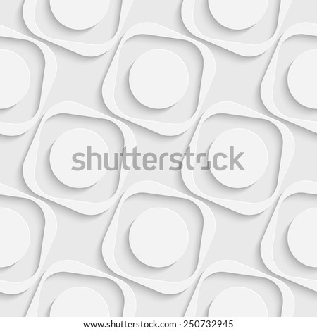 Seamless Square and Circle Pattern. Vector Soft Background. Regular White Texture - stock vector