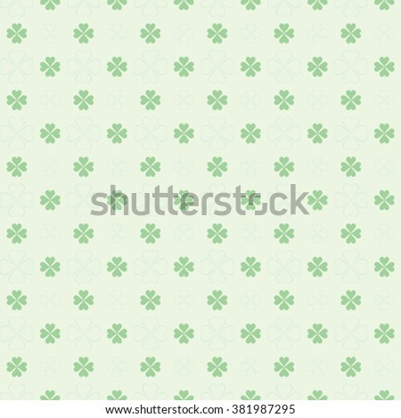 seamless St. Patricks Day pattern: four leaf clover - stock vector