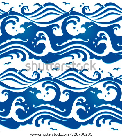 Seamless stormy ocean waves pattern - stock vector