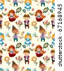 seamless story people pattern - stock vector