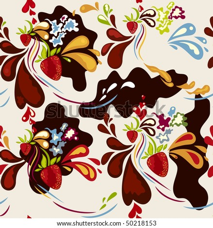 Seamless strawberry & chocolate background vector - stock vector