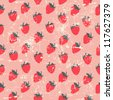 Seamless strawberry pattern in retro style - stock vector