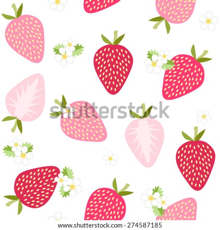 Seamless strawberry pattern on white background - stock vector