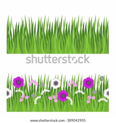 seamless strip of grass, grass and flowers. Seamless pattern for a banner with grass and flowers - stock vector