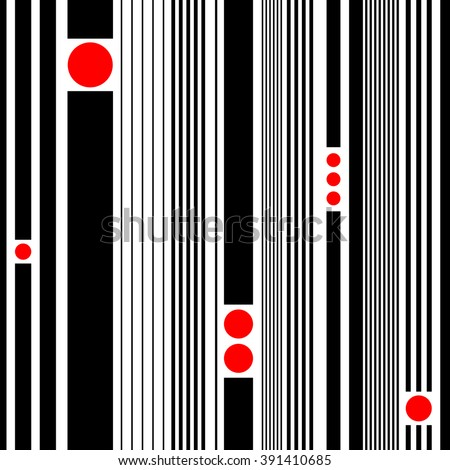 Seamless Stripe and Circle Pattern. Vector Black and Red Texture - stock vector
