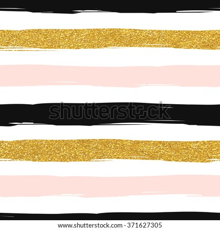 Seamless striped gold rose white and black modern vector pattern - stock vector
