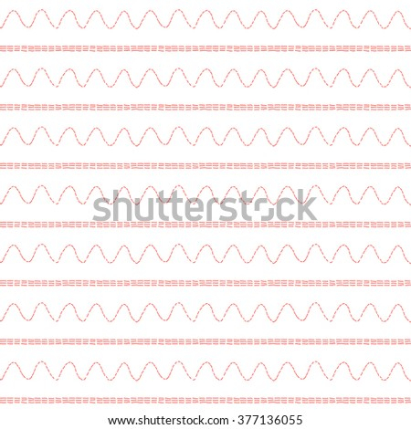 seamless striped pattern - sewing machine stitches  - stock vector