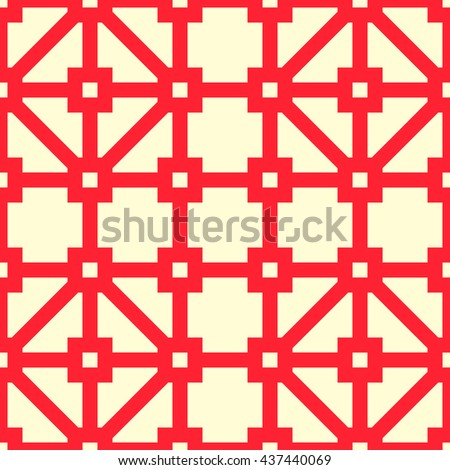 Seamless striped red grid pattern. Abstract repeated crossing lines texture background. Vector illustration
