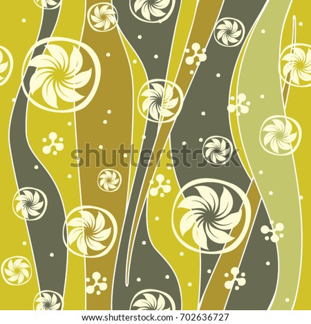 Seamless stripes and rolls pattern, green color variation. Pattern color swatch included