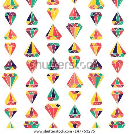 Seamless stylish color diamonds pattern. Vector illustration - stock vector