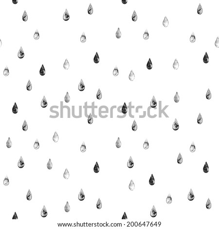 Seamless stylish pattern with black grunge raindrops. Vector illustration - stock vector