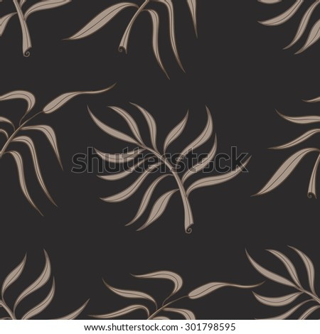 Seamless stylized abstract pattern (background) with palm leaves silhouette.  Texture with  leaves. - stock vector