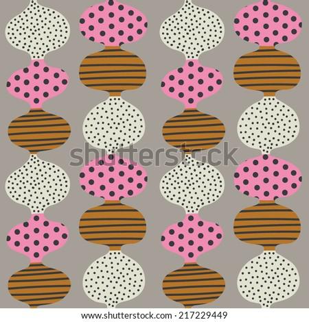 Seamless stylized graphic pattern. Scandinavian fun ornament. Cute colorful design - stock vector