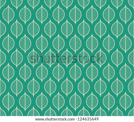 Seamless stylized leaf pattern background - stock vector