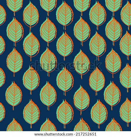 Seamless stylized leaf pattern background .