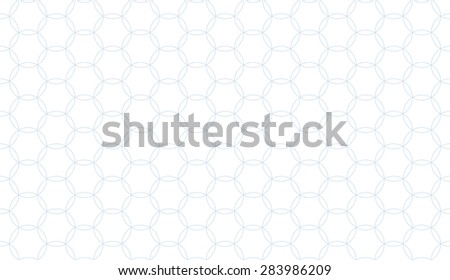 Seamless subtle blue circular pattern on a hexagonal grid vector - stock vector