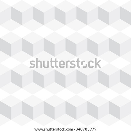 Seamless subtle gray isometric cubes levels puzzle illusion pattern vector - stock vector