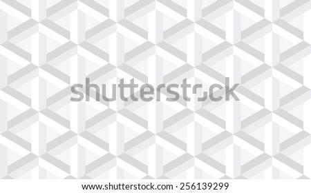 Seamless subtle gray retro op art hex construction optical illusion vector pattern - stock vector