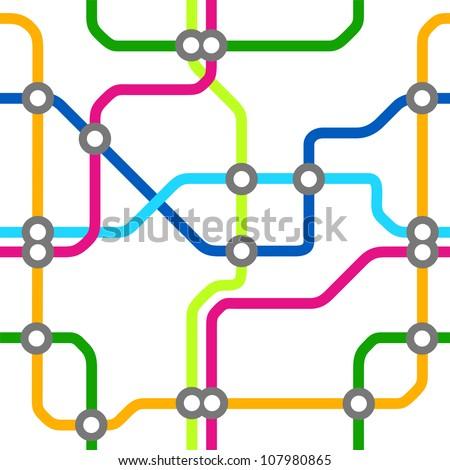 seamless subway map pattern - stock vector