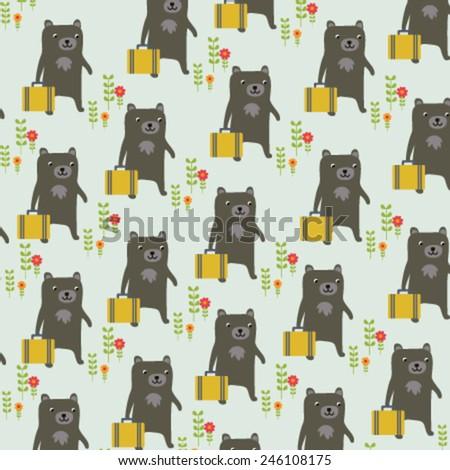 Seamless suitcase bear pattern - stock vector