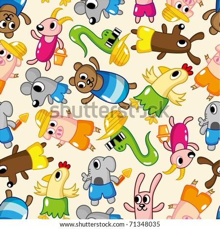 seamless summer animal pattern - stock vector