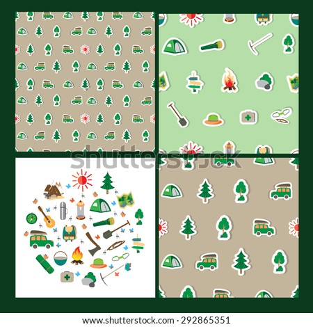 Seamless summer camp pattern(3 sets). Icons are on a green background. And one set with icons about camping.  A Fire, pointer, a tent, the sun. All about outdoor.  Vector illustration. - stock vector