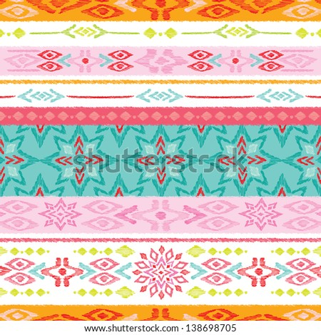 Seamless summer colorful aztec vintage folklore background pattern in vector - stock vector