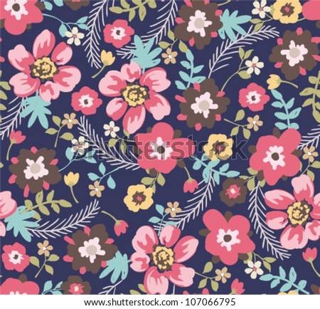 seamless summer floral pattern background - stock vector