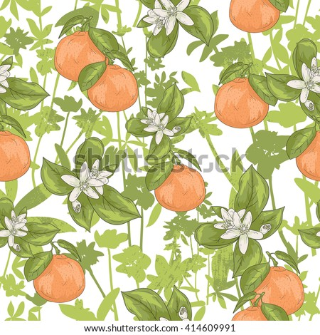 Seamless summer floral pattern. Vector background with flowers and tangerines. - stock vector