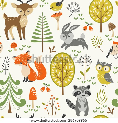 Seamless summer forest pattern with cute woodland animals, trees, mushrooms and berries. - stock vector