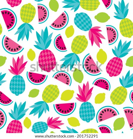Seamless summer fruit exotic fruit cocktail illustration background pattern in vector - stock vector
