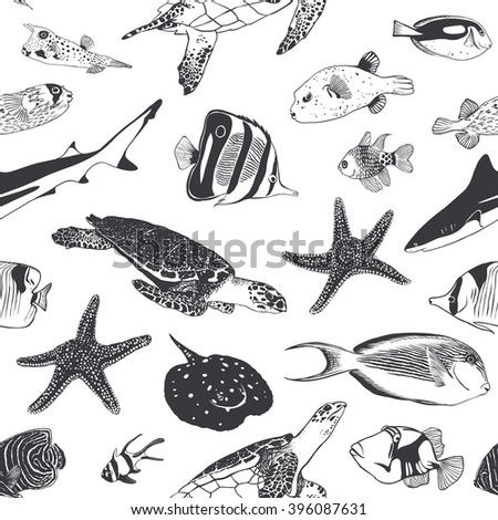 Seamless summer pattern. Sea and ocean inhabitants. Fish, turtle, shark. Black and white - stock vector