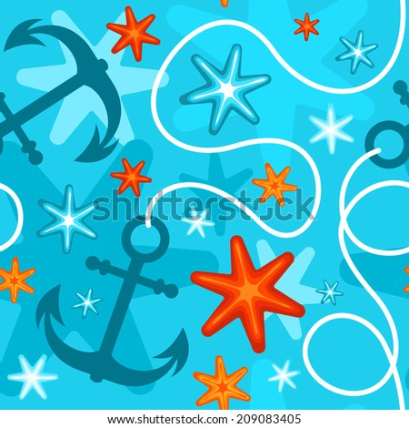 Seamless summer pattern with starfish and anchor on blue background