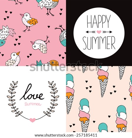 Seamless summer season birds and ice cream cones illustration pattern and happy summer love postcard cover design print in vector - stock vector