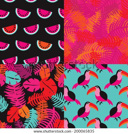 Seamless summer toucan birds and brazil jungle flowers leafs and fruit illustration background pattern in vector - stock vector