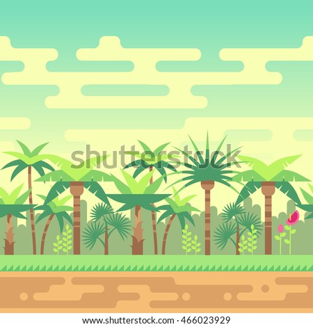 Seamless summer tropical forest nature landscape vector illustration for computer games
